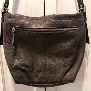 Large Brown Leather Coach Bag #F15064